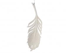 X158KI Plume plastique paillettée blanc H22cm