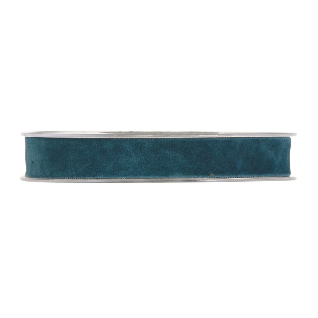 X159UN Ruban de velours bleu canard 15mm x 7m