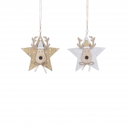 X160DQ Wooden star assorted with reindeer head D12cm