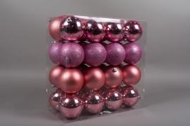 X160ZY Boîte de 32 boules en plastique rose D10cm