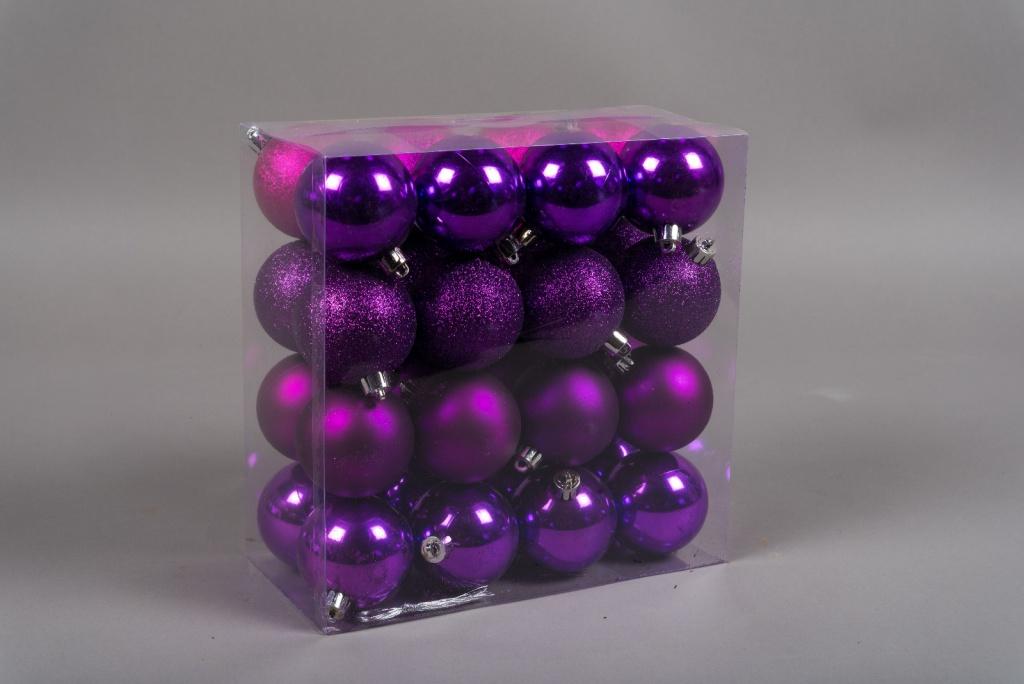 X161ZY Boîte de 32 boules en plastique violet D6cm