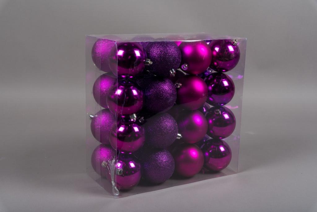 X162ZY Boîte de 32 boules en plastique violet D8cm
