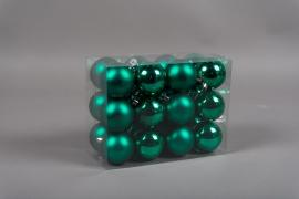 X164ZY Boîte de 24 boules en plastique vert D6cm