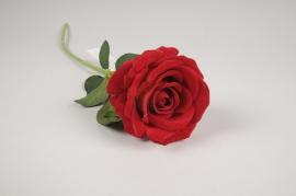 x166am Rose artificielle velours rouge H50cm