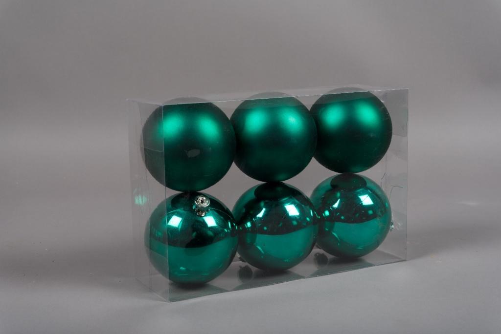 X166ZY Boîte de 6 boules en plastique vert D10cm