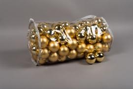 X167ZY Sac de 100 boules plastique or D6cm