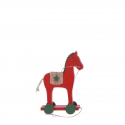 X168DQ Red wooden horse on green casters w12cm H18cm