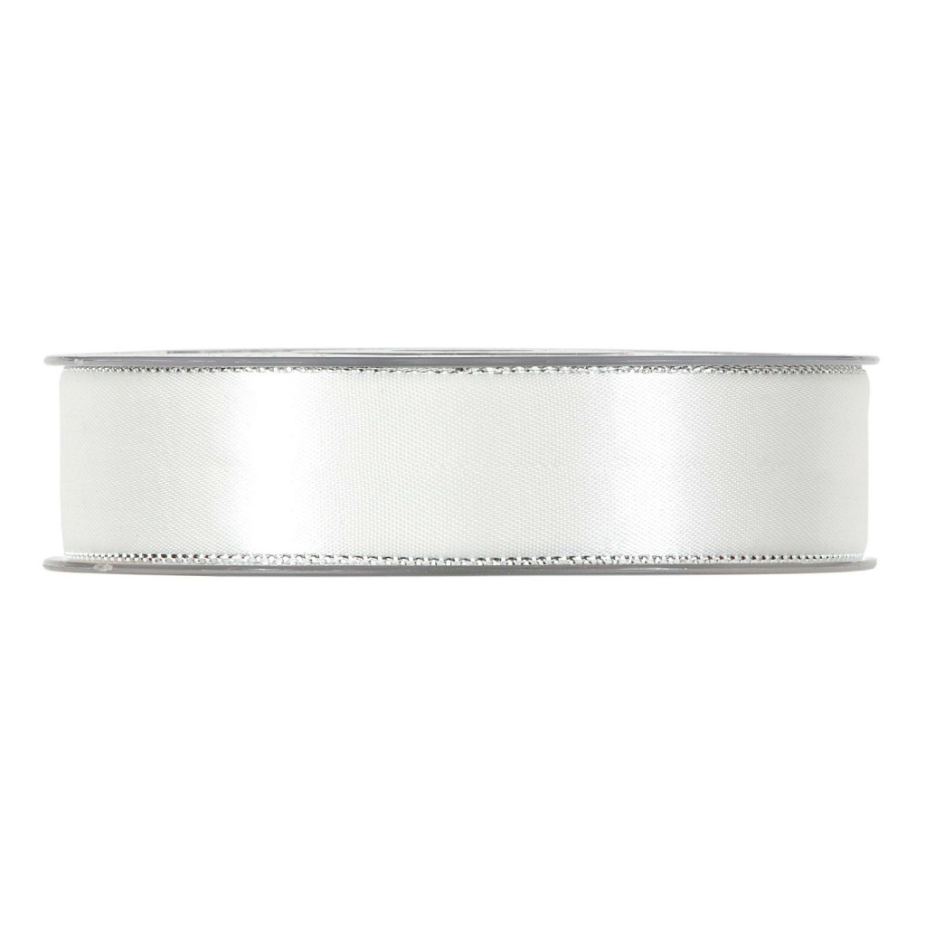 X170UN White satin ribbon with metal edges 25mm x 20m