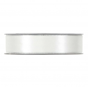 X170UN White satin ribbon with metal edges 25mm x 20m