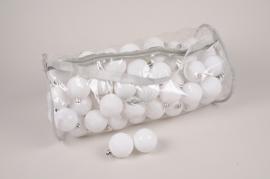 X170ZY Sac de 100 boules plastique blanc D6cm