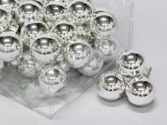 X172X4 Boîte de 36 boules en verre argent brillant D40mm