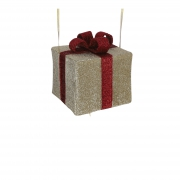 X173DQ Glittery gold tissue gift with red bow w30cm H25cm