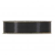 X173UN Black satin ribbon with metal edges 25mm x 20m