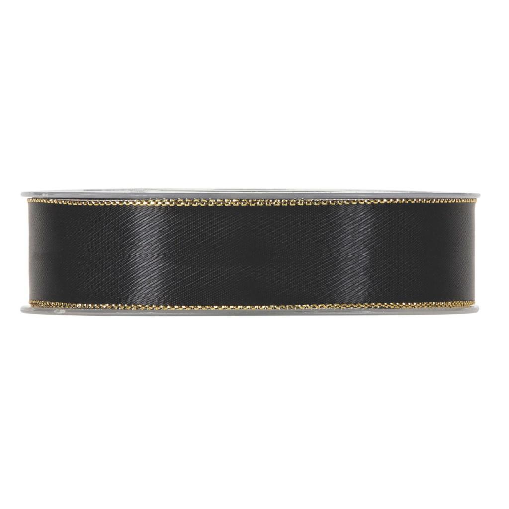 X173UN Ruban satin noir avec bords métal 25mm x 20m