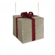 X174DQ Cadeau en tissu avec nœud rouge l40cm H35cm