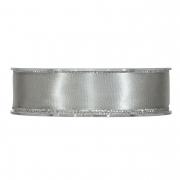 X174UN Silver satin ribbon with metal edges 25mm x 20m