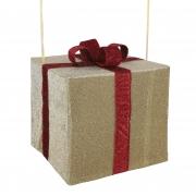 X175DQ Cadeau en tissu avec nœud rouge l50cm H45cm