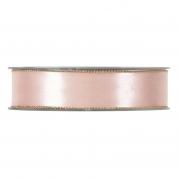 X175UN Pink satin ribbon with metal edges 25mm x 20m