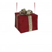 X176DQ Cadeau en tissu avec nœud or l30cm H25cm