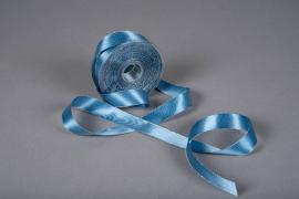 X176UN Ruban satin bleu bordure métallisé 25mm x 20m