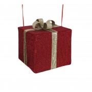 X177DQ Cadeau en tissu avec nœud or l40cm H35cm