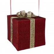 X178DQ Cadeau en tissu avec nœud or l50cm H45cm