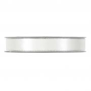X178UN White satin ribbon with metal edges 15mm x 20m
