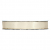 X179UN Cream satin ribbon with metal edges 15mm x 20m