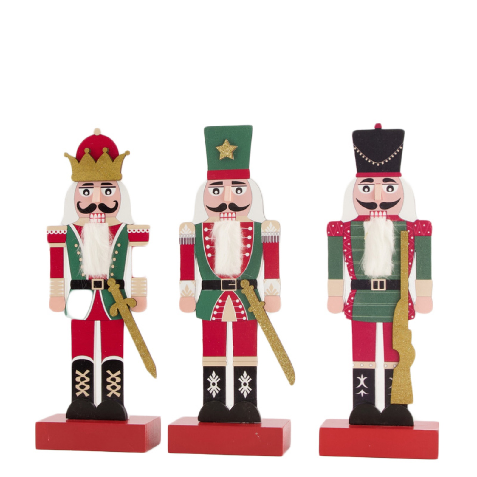X181U7 Figurine Noël en bois assortie H24cm