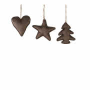 X182DQ Chocolate velvet heart/star/assorted w11cm H12cm