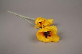 x182ee Coquelicot artificiel jaune H50cm