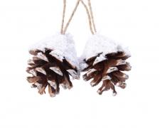 X182KI Set of 2 snowed pinecones H6cm