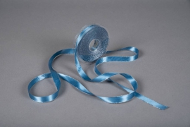 X184UN Ruban satin bleu bordure métallisé 15mm x 20m