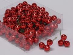 X184X4 Boîte de 144 boules verre rouge D20mm