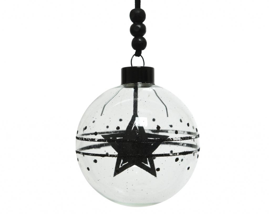 X186KI Boite de 3 boules en verre étoile noire D8cm