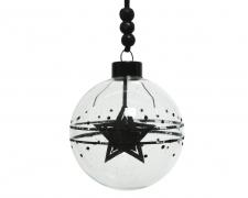 X186KI Box of 3 glass balls with black star D8cm