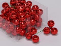 X186X4 Boîte de 72 boules verre rouge D30mm