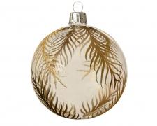 X187KI Glass ball with gold leaves patterns D8cm