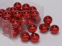 X187X4 Box of 36 shiny red glass balls D40mm