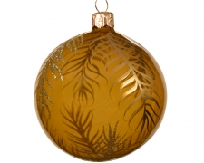 X188KI Boule en verre ambre motifs feuilles or D8cm
