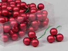 X188X4 Boîte de 144 boules verre rouge D20mm