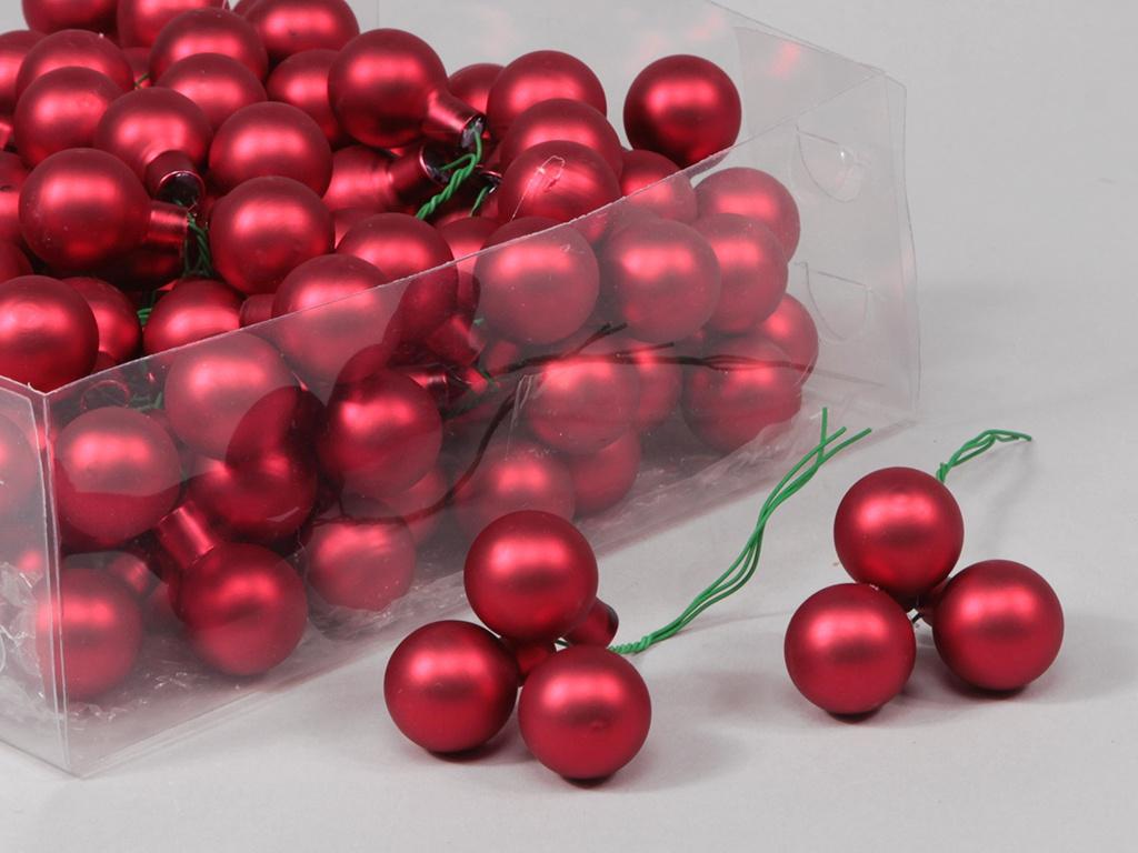 X188X4 Box of 144 matte red glass balls D25mm