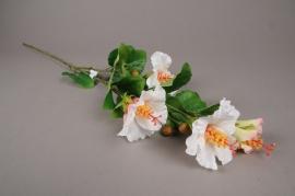 x189ee Branche artificielle d'hibiscus blanc et rose H83cm