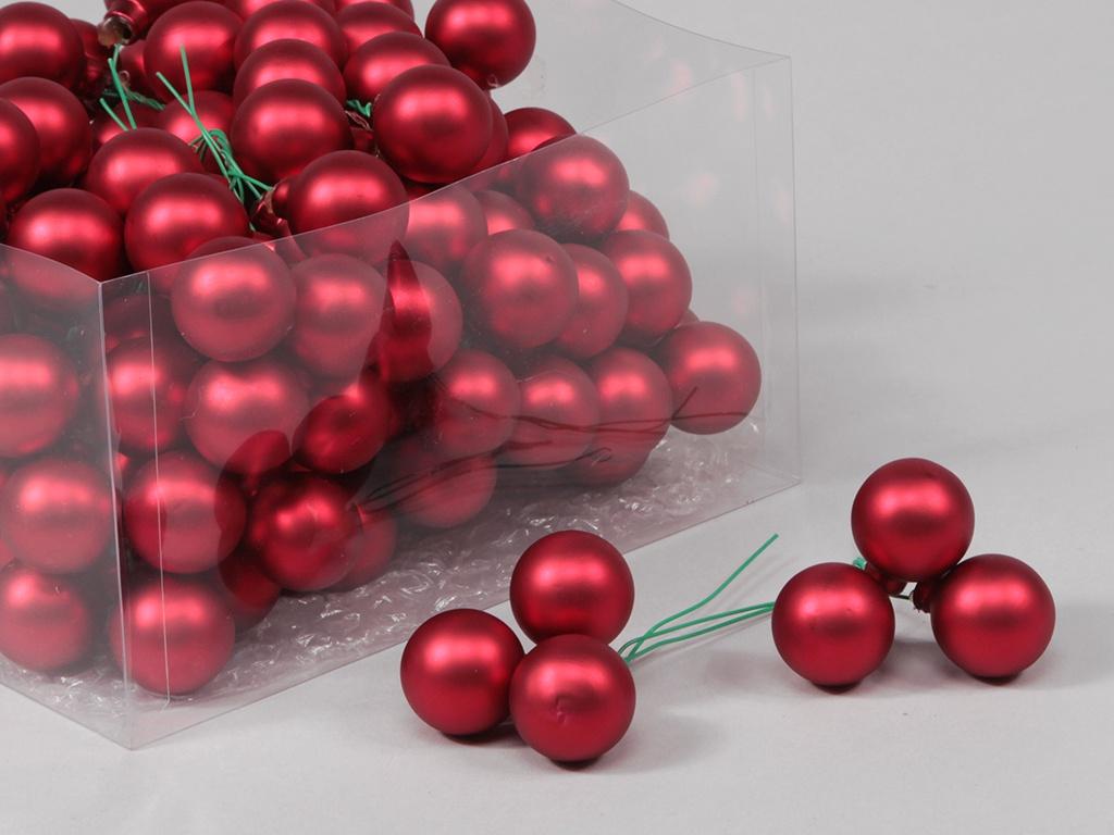 X189X4 Box of 144 red glass balls D25mm