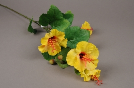 x190ee Branche artificielle d'hibiscus jaune H83cm