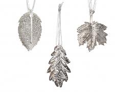X190KI Set de 4 feuilles assorties en fer argent D7,5cm