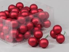 X190X4 Boîte de 72 boules verre rouge D30mm