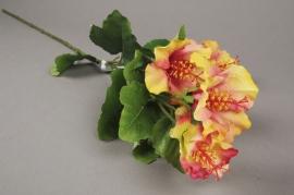 x191ee  Branche artificielle d'hibiscus jaune et rose H83cm