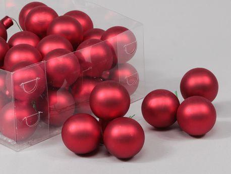 X191X4 Boîte de 36 boules en verre rouge mat D40mm