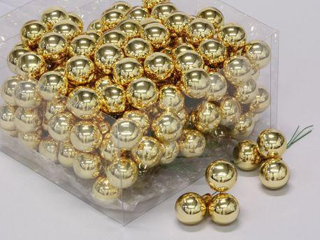 X193X4 Boîte de 144 boules en verre or brillant D25mm